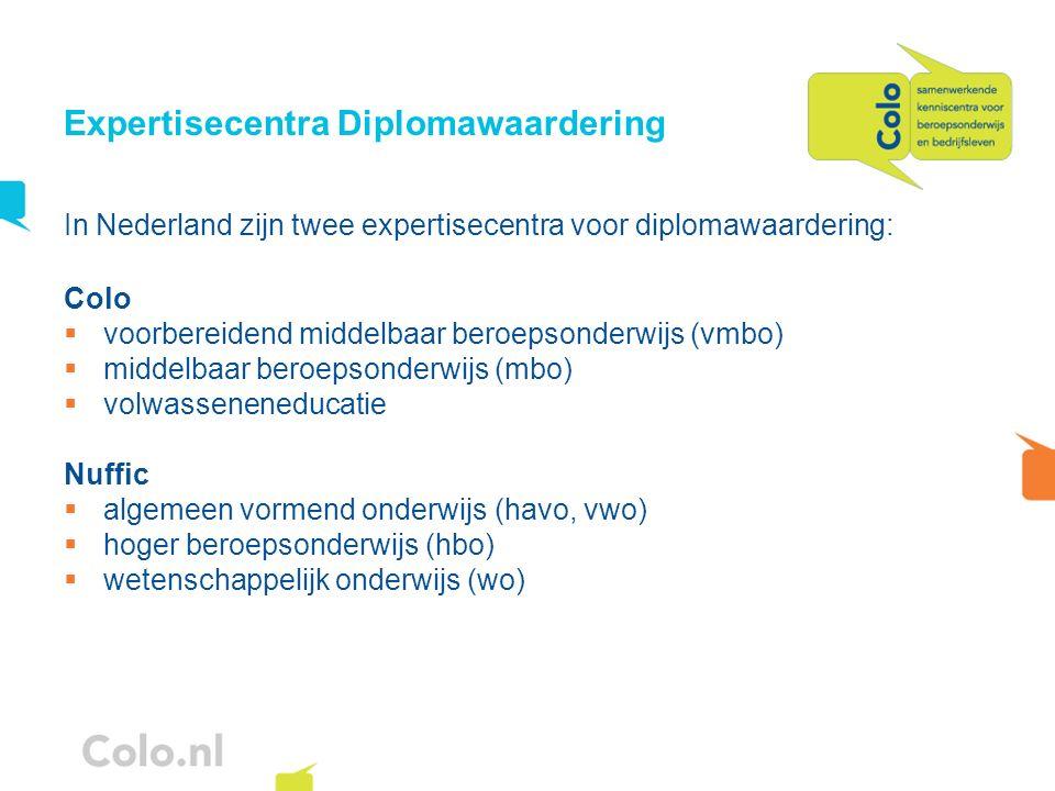 Expertisecentra Diplomawaardering In Nederland zijn twee expertisecentra voor diplomawaardering: Colo voorbereidend middelbaar beroepsonderwijs (vmbo)
