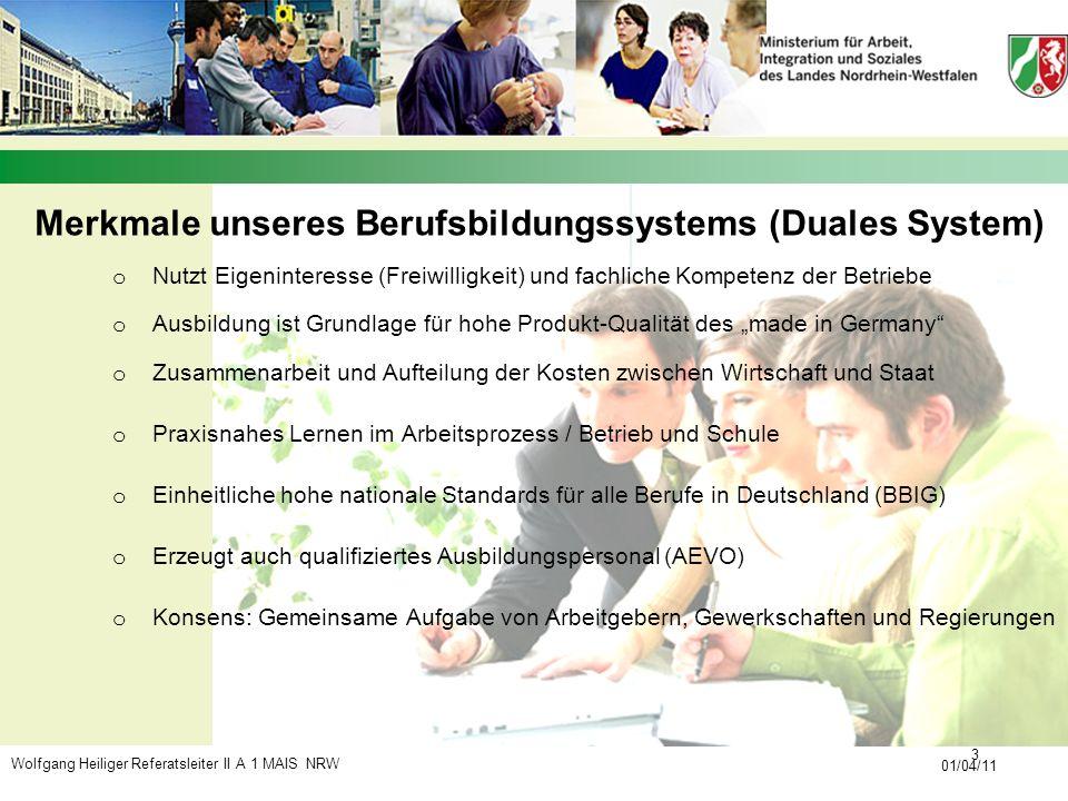Wolfgang Heiliger Referatsleiter II A 1 MAIS NRW 01/04/11 3 o Nutzt Eigeninteresse (Freiwilligkeit) und fachliche Kompetenz der Betriebe o Ausbildung