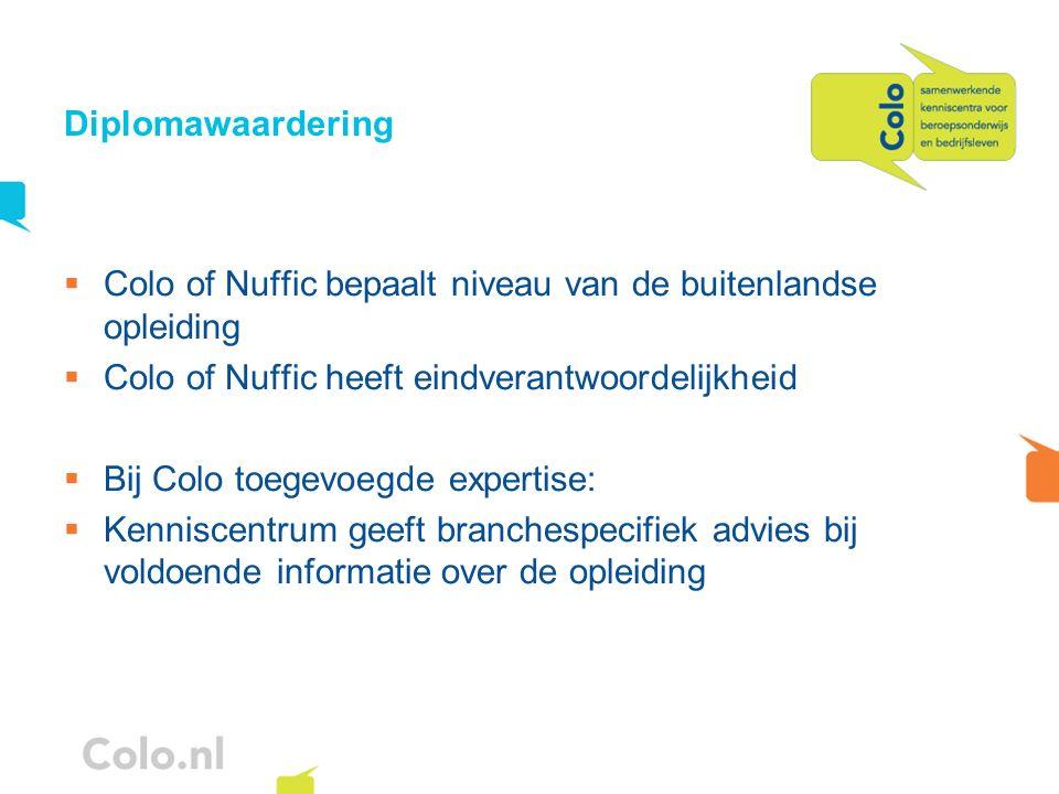 Diplomawaardering Colo of Nuffic bepaalt niveau van de buitenlandse opleiding Colo of Nuffic heeft eindverantwoordelijkheid Bij Colo toegevoegde exper