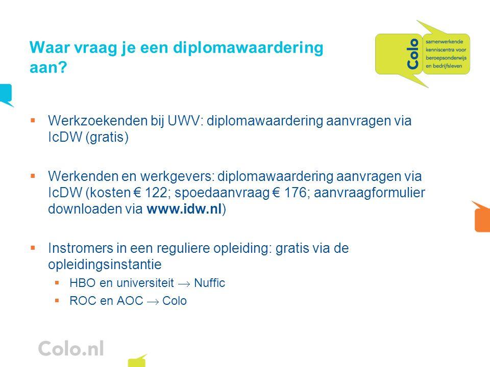 Waar vraag je een diplomawaardering aan? Werkzoekenden bij UWV: diplomawaardering aanvragen via IcDW (gratis) Werkenden en werkgevers: diplomawaarderi