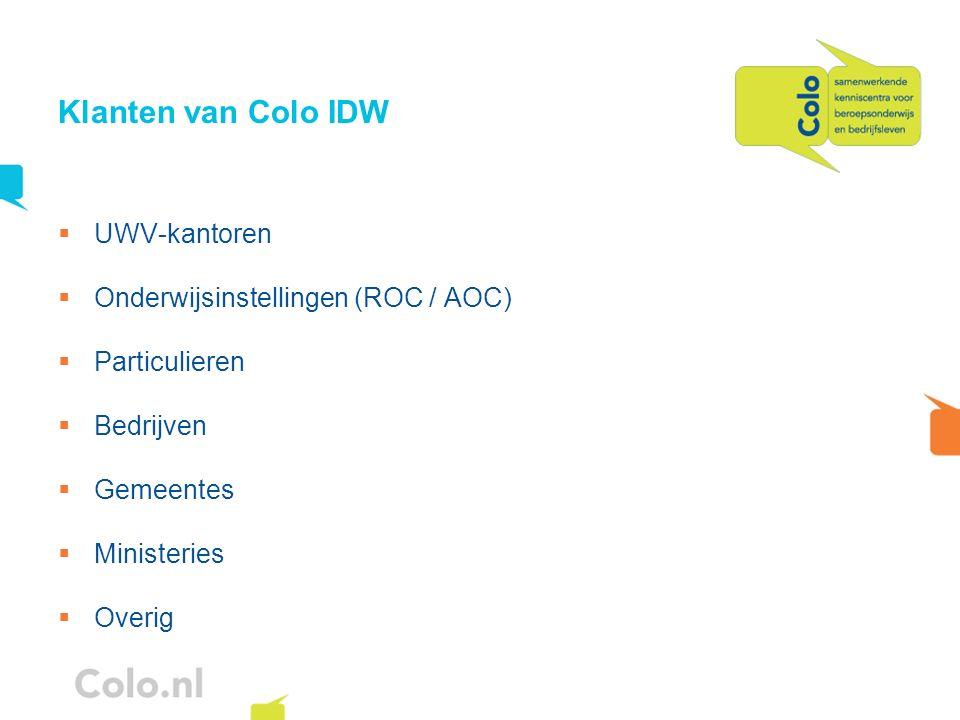Klanten van Colo IDW UWV-kantoren Onderwijsinstellingen (ROC / AOC) Particulieren Bedrijven Gemeentes Ministeries Overig