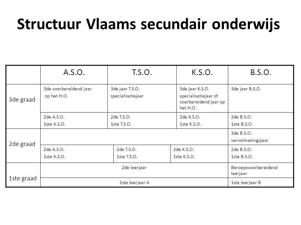 Structuur Vlaams secundair onderwijs A.S.O.T.S.O.K.S.O.B.S.O. 3de graad 3de voorbereidend jaar op het H.O. 3de jaar T.S.O. specialisatiejaar 3de jaar