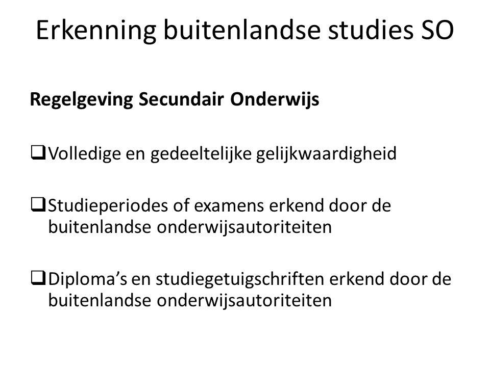 Erkenning buitenlandse studies SO Regelgeving Secundair Onderwijs Volledige en gedeeltelijke gelijkwaardigheid Studieperiodes of examens erkend door d
