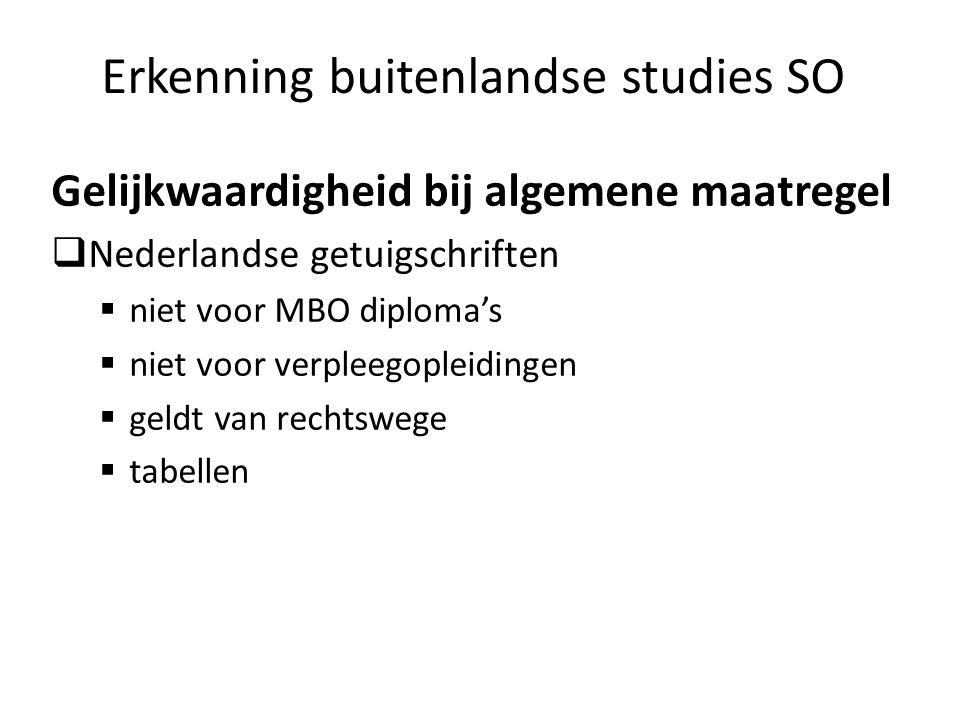 Erkenning buitenlandse studies SO Gelijkwaardigheid bij algemene maatregel Nederlandse getuigschriften niet voor MBO diplomas niet voor verpleegopleid