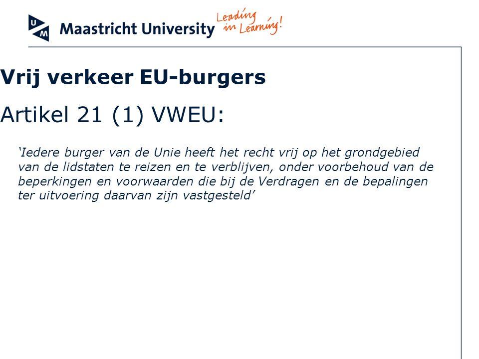 Vrij verkeer EU-burgers Artikel 21 (1) VWEU: Iedere burger van de Unie heeft het recht vrij op het grondgebied van de lidstaten te reizen en te verbli