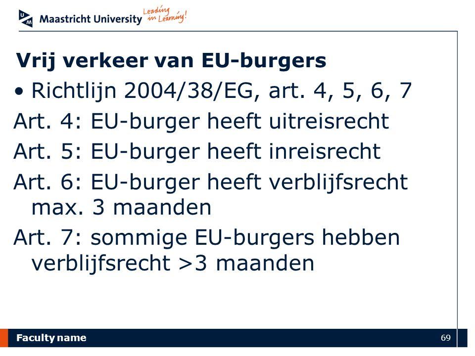 Faculty name 69 Vrij verkeer van EU-burgers Richtlijn 2004/38/EG, art. 4, 5, 6, 7 Art. 4: EU-burger heeft uitreisrecht Art. 5: EU-burger heeft inreisr