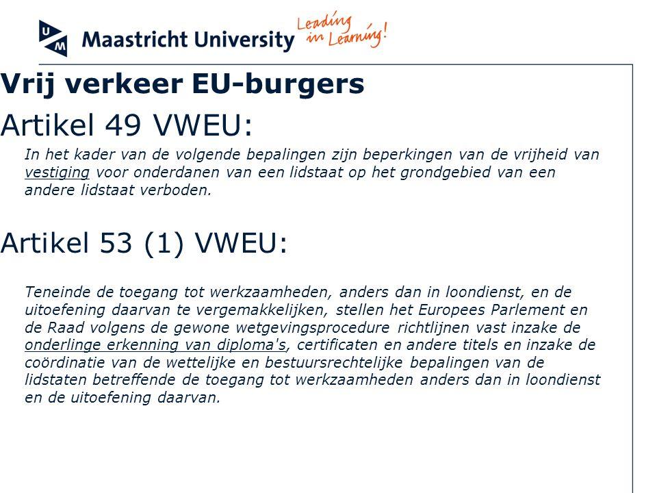 Vrij verkeer EU-burgers Artikel 49 VWEU: In het kader van de volgende bepalingen zijn beperkingen van de vrijheid van vestiging voor onderdanen van ee