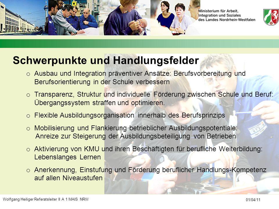 Wolfgang Heiliger Referatsleiter II A 1 MAIS NRW 01/04/11 Schwerpunkte und Handlungsfelder o Ausbau und Integration präventiver Ansätze: Berufsvorbere