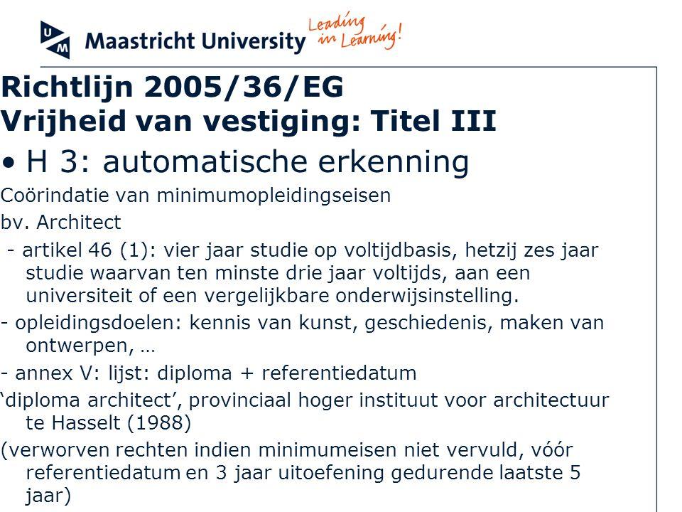 Richtlijn 2005/36/EG Vrijheid van vestiging: Titel III H 3: automatische erkenning Coörindatie van minimumopleidingseisen bv. Architect - artikel 46 (