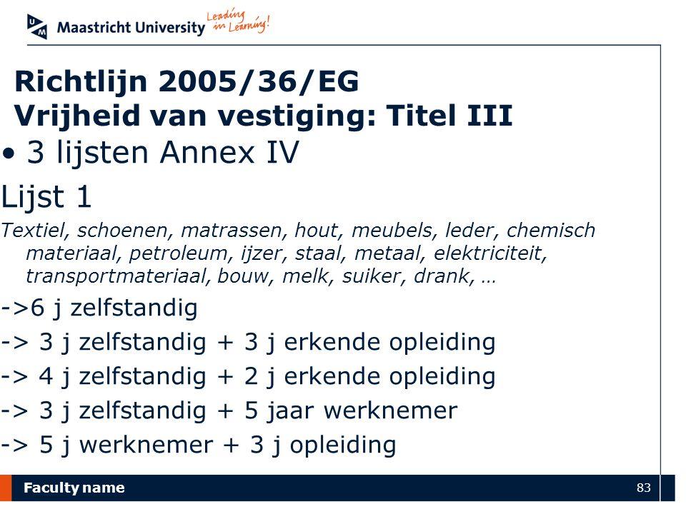 Faculty name 83 Richtlijn 2005/36/EG Vrijheid van vestiging: Titel III 3 lijsten Annex IV Lijst 1 Textiel, schoenen, matrassen, hout, meubels, leder,