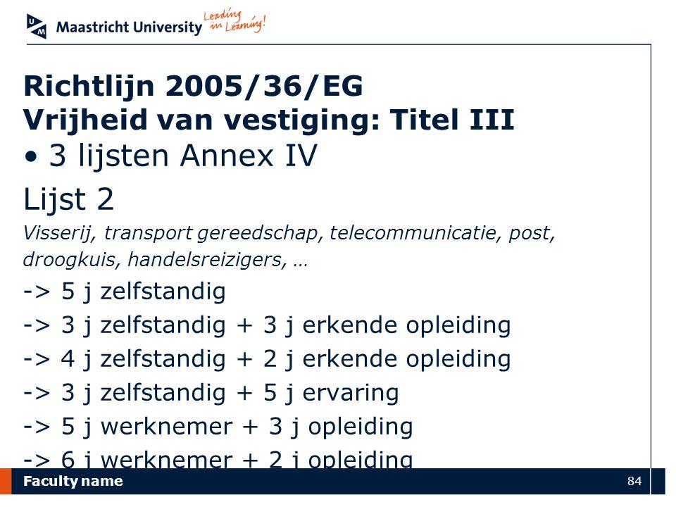 Faculty name 84 Richtlijn 2005/36/EG Vrijheid van vestiging: Titel III 3 lijsten Annex IV Lijst 2 Visserij, transport gereedschap, telecommunicatie, p