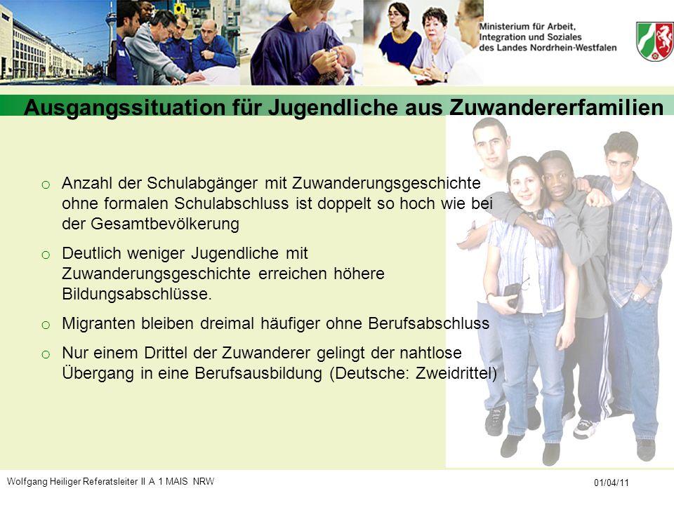 Wolfgang Heiliger Referatsleiter II A 1 MAIS NRW 01/04/11 o Anzahl der Schulabgänger mit Zuwanderungsgeschichte ohne formalen Schulabschluss ist doppe