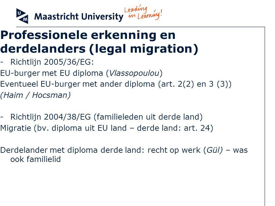 Professionele erkenning en derdelanders (legal migration) -Richtlijn 2005/36/EG: EU-burger met EU diploma (Vlassopoulou) Eventueel EU-burger met ander