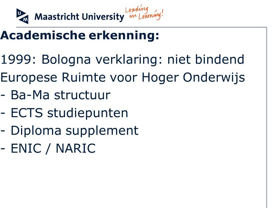 Academische erkenning: 1999: Bologna verklaring: niet bindend Europese Ruimte voor Hoger Onderwijs -Ba-Ma structuur -ECTS studiepunten -Diploma supple