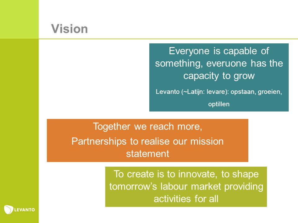 Vision Together we reach more, Partnerships to realise our mission statement Everyone is capable of something, everuone has the capacity to grow Levan