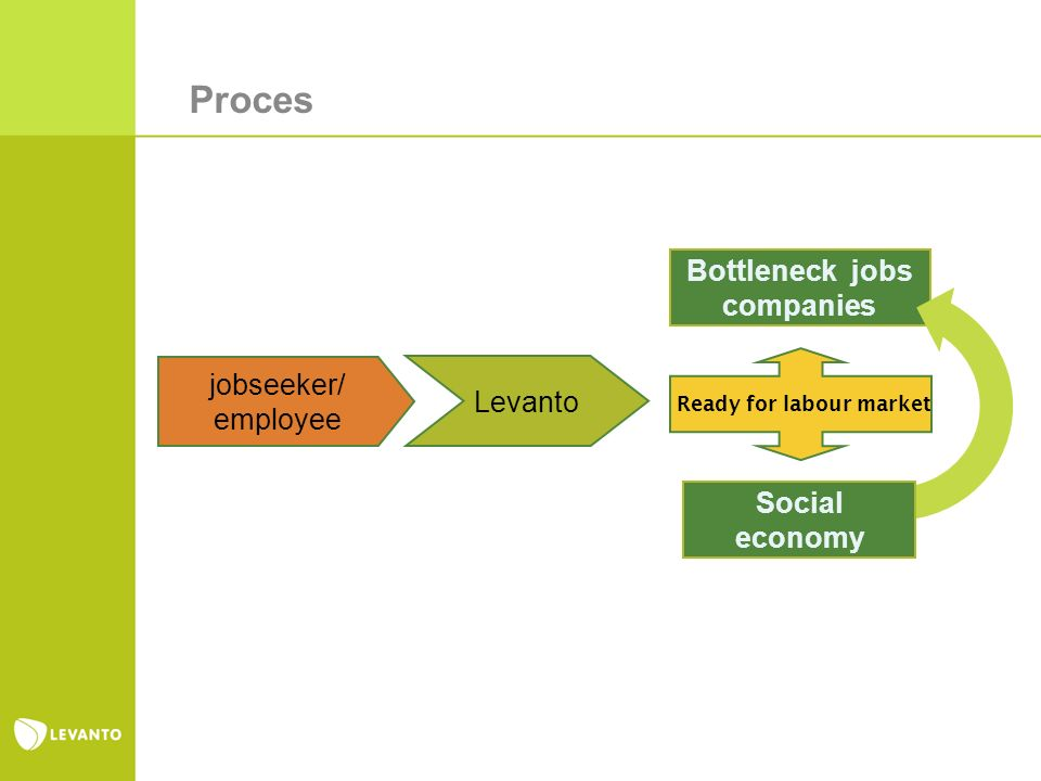 Levanto jobseeker/ employee Bottleneck jobs companies Ready for labour market Social economy Proces