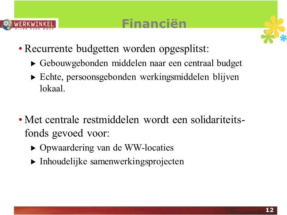 12 Financiën Recurrente budgetten worden opgesplitst:  Gebouwgebonden middelen naar een centraal budget  Echte, persoonsgebonden werkingsmiddelen blijven lokaal.
