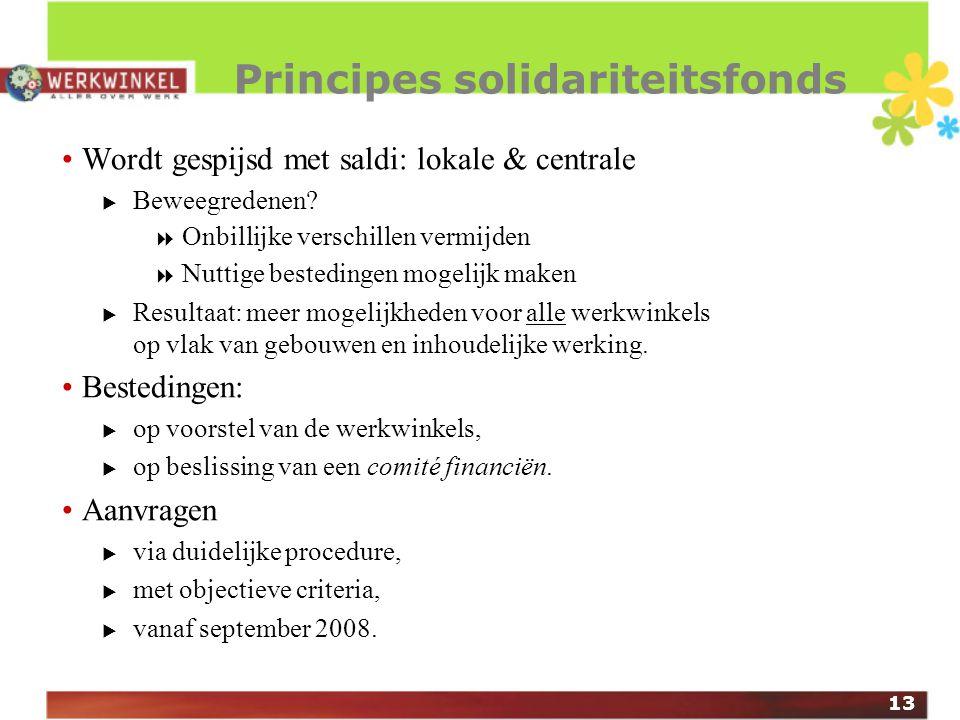 13 Principes solidariteitsfonds Wordt gespijsd met saldi: lokale & centrale  Beweegredenen.