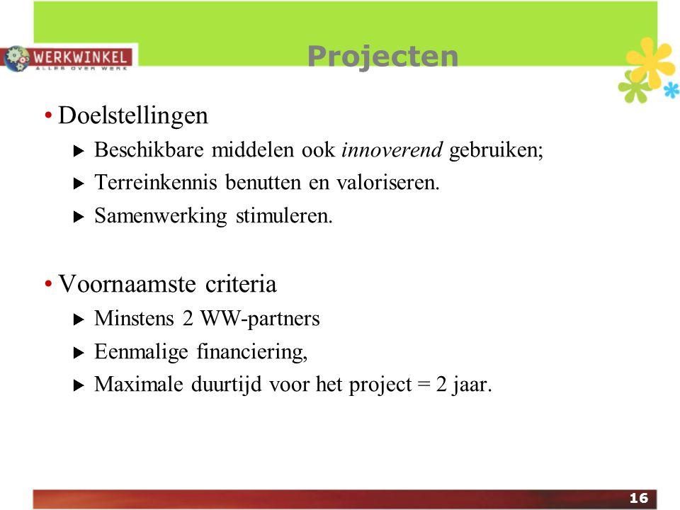 16 Projecten Doelstellingen  Beschikbare middelen ook innoverend gebruiken;  Terreinkennis benutten en valoriseren.