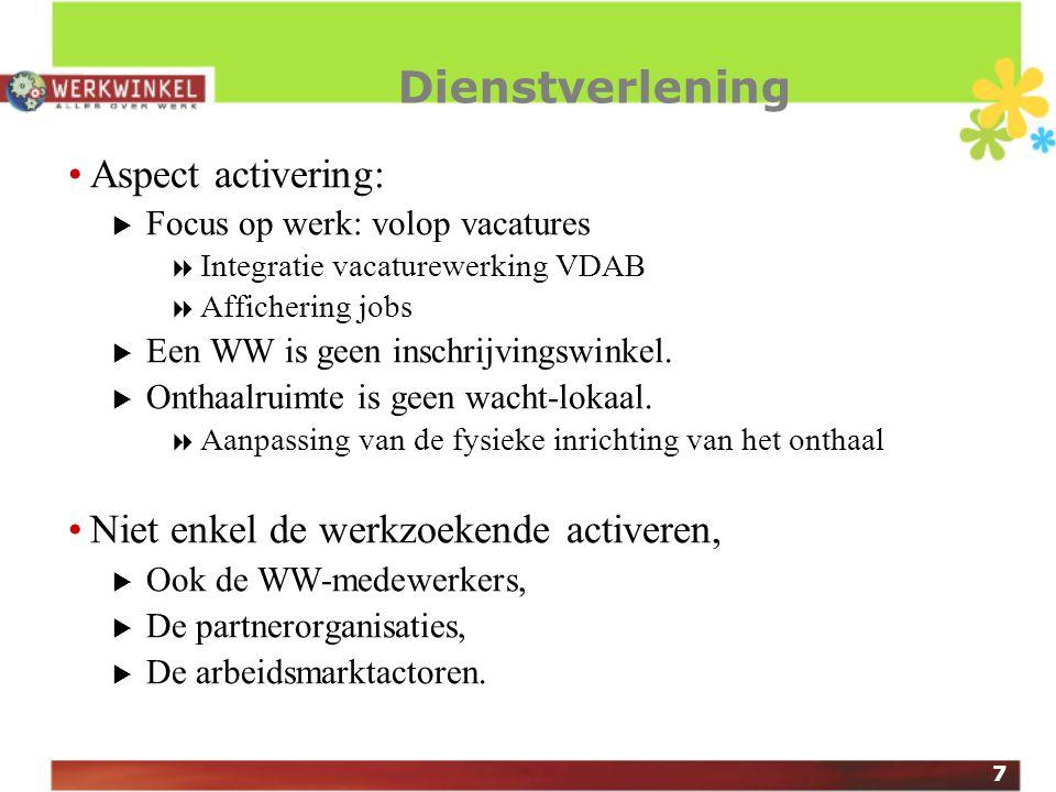 7 Dienstverlening Aspect activering:  Focus op werk: volop vacatures  Integratie vacaturewerking VDAB  Affichering jobs  Een WW is geen inschrijvingswinkel.