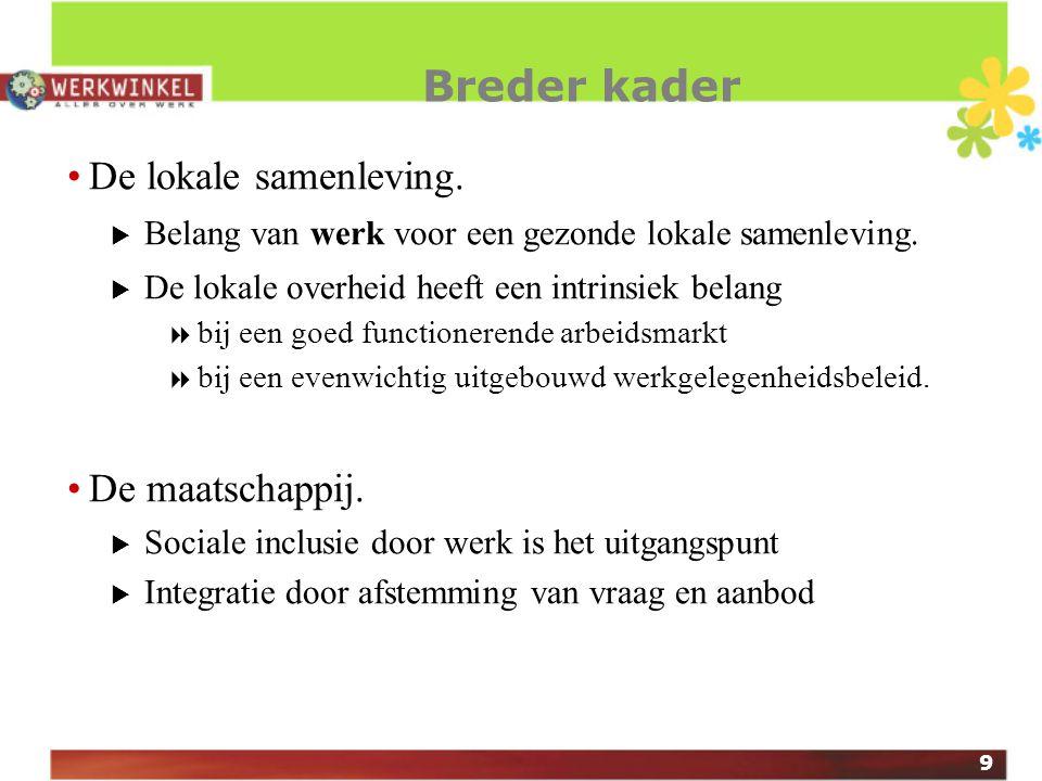 9 Breder kader De lokale samenleving.  Belang van werk voor een gezonde lokale samenleving.