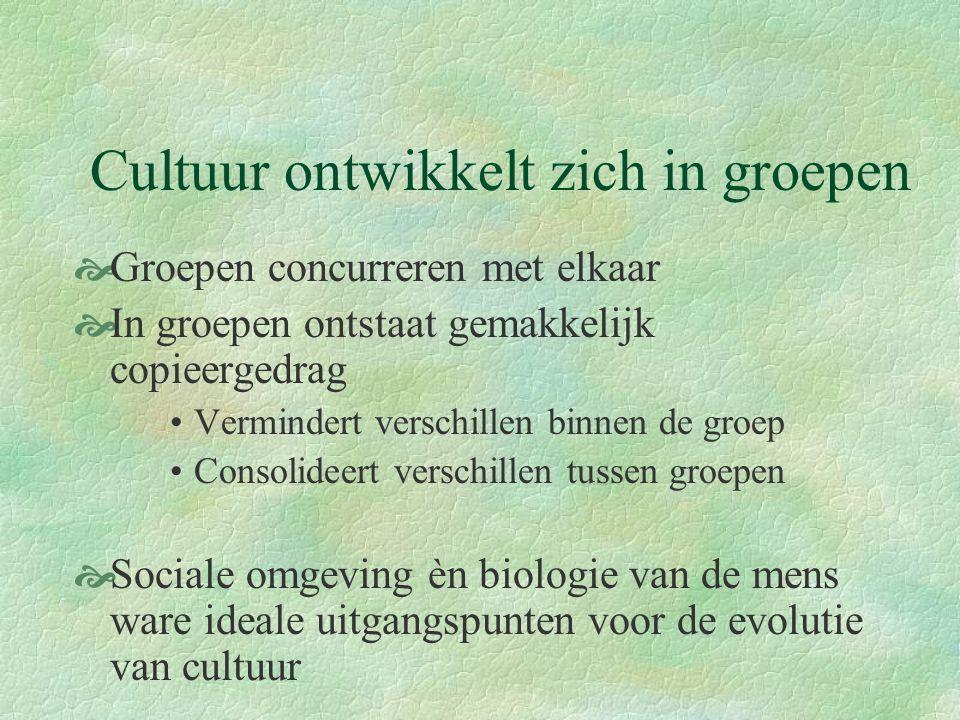 Cultuur ontwikkelt zich in groepen  Groepen concurreren met elkaar  In groepen ontstaat gemakkelijk copieergedrag Vermindert verschillen binnen de g