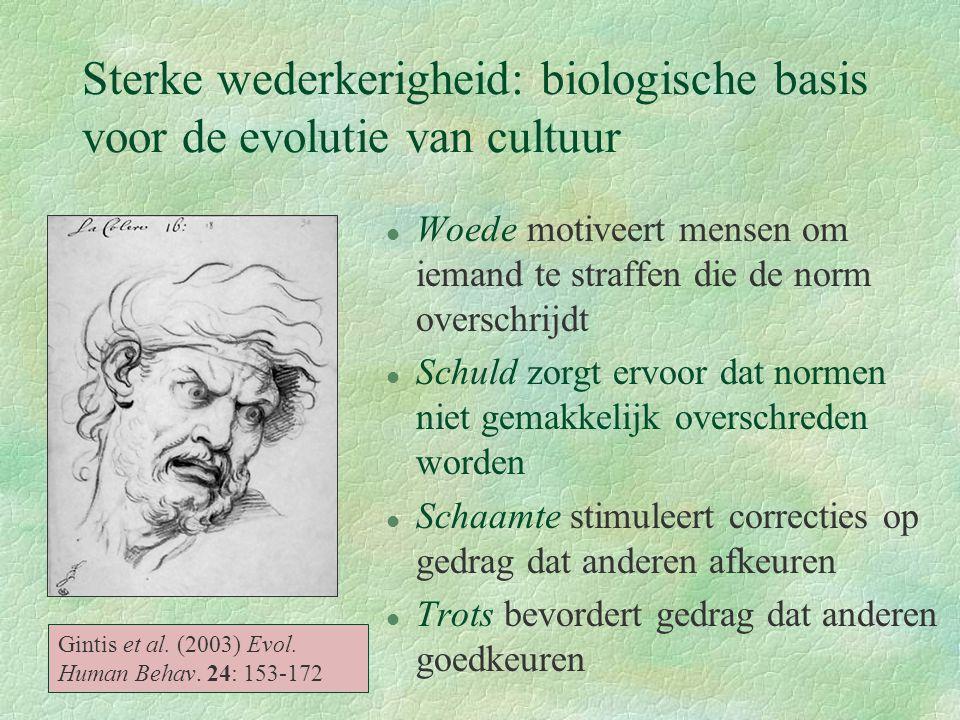 Sterke wederkerigheid: biologische basis voor de evolutie van cultuur l Woede motiveert mensen om iemand te straffen die de norm overschrijdt l Schuld