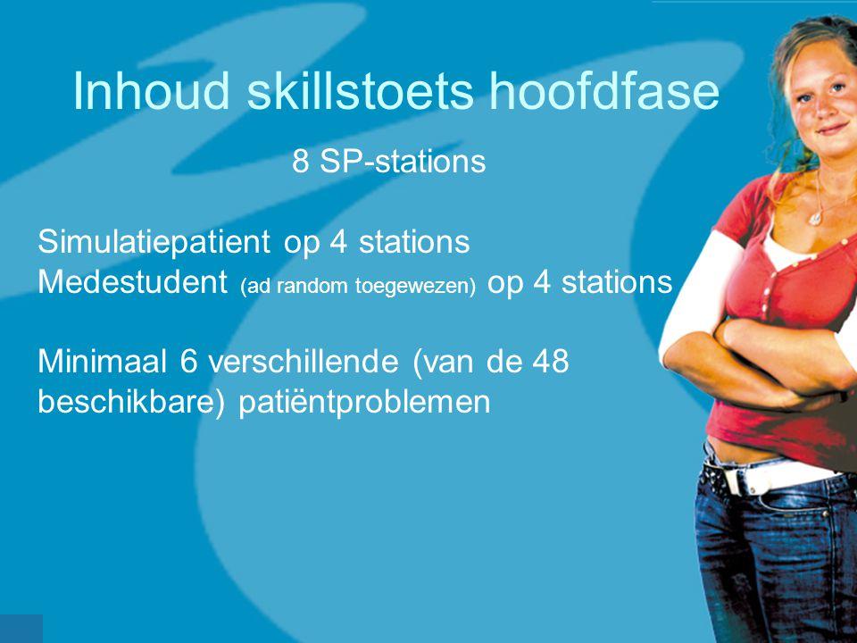 Inhoud skillstoets hoofdfase 8 SP-stations Simulatiepatient op 4 stations Medestudent (ad random toegewezen) op 4 stations Minimaal 6 verschillende (van de 48 beschikbare) patiëntproblemen