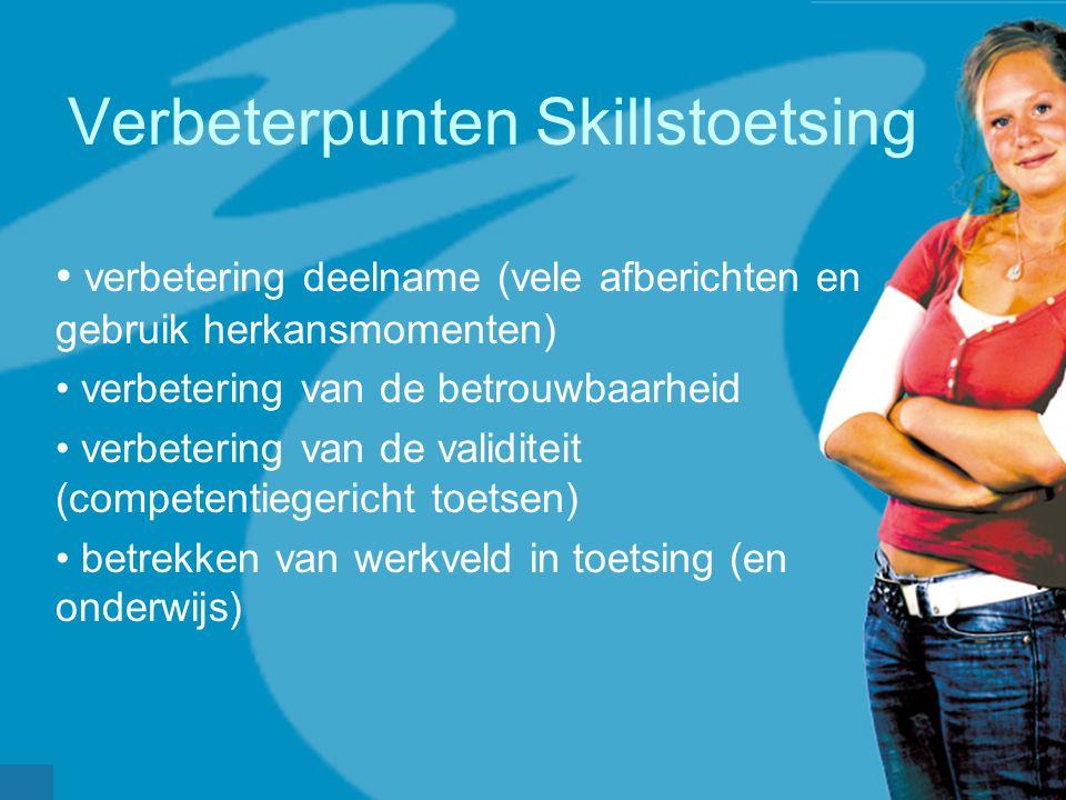 Verbeterpunten Skillstoetsing verbetering deelname (vele afberichten en gebruik herkansmomenten) verbetering van de betrouwbaarheid verbetering van de validiteit (competentiegericht toetsen) betrekken van werkveld in toetsing (en onderwijs)