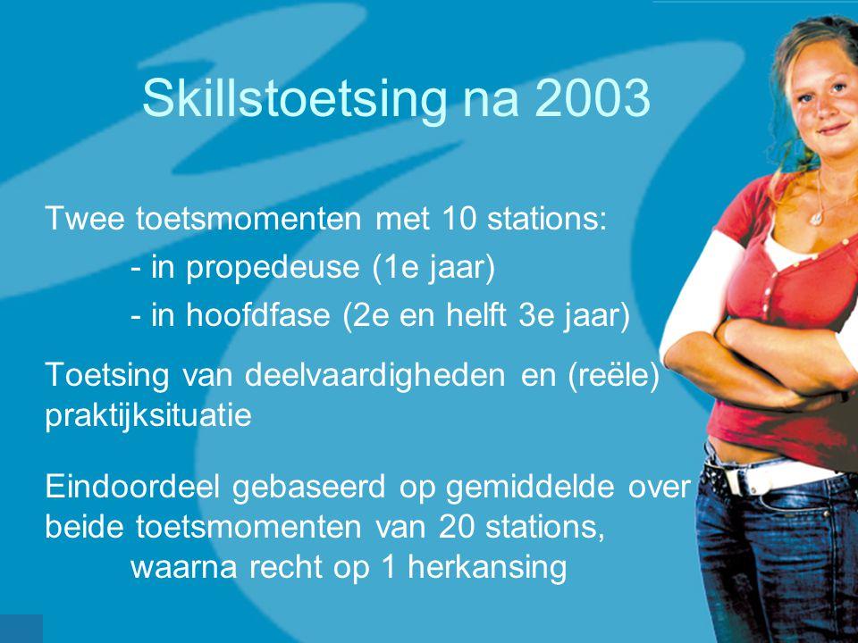 Skillstoetsing na 2003 Twee toetsmomenten met 10 stations: - in propedeuse (1e jaar) - in hoofdfase (2e en helft 3e jaar) Toetsing van deelvaardigheden en (reële) praktijksituatie Eindoordeel gebaseerd op gemiddelde over beide toetsmomenten van 20 stations, waarna recht op 1 herkansing
