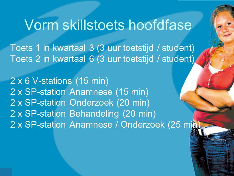 Vorm skillstoets hoofdfase Toets 1 in kwartaal 3 (3 uur toetstijd / student) Toets 2 in kwartaal 6 (3 uur toetstijd / student) 2 x 6 V-stations (15 min) 2 x SP-station Anamnese (15 min) 2 x SP-station Onderzoek (20 min) 2 x SP-station Behandeling (20 min) 2 x SP-station Anamnese / Onderzoek (25 min)