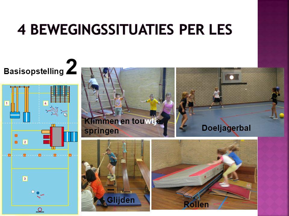 Klimmen en touwtje springen Basisopstelling 2 Glijden Rollen Doeljagerbal