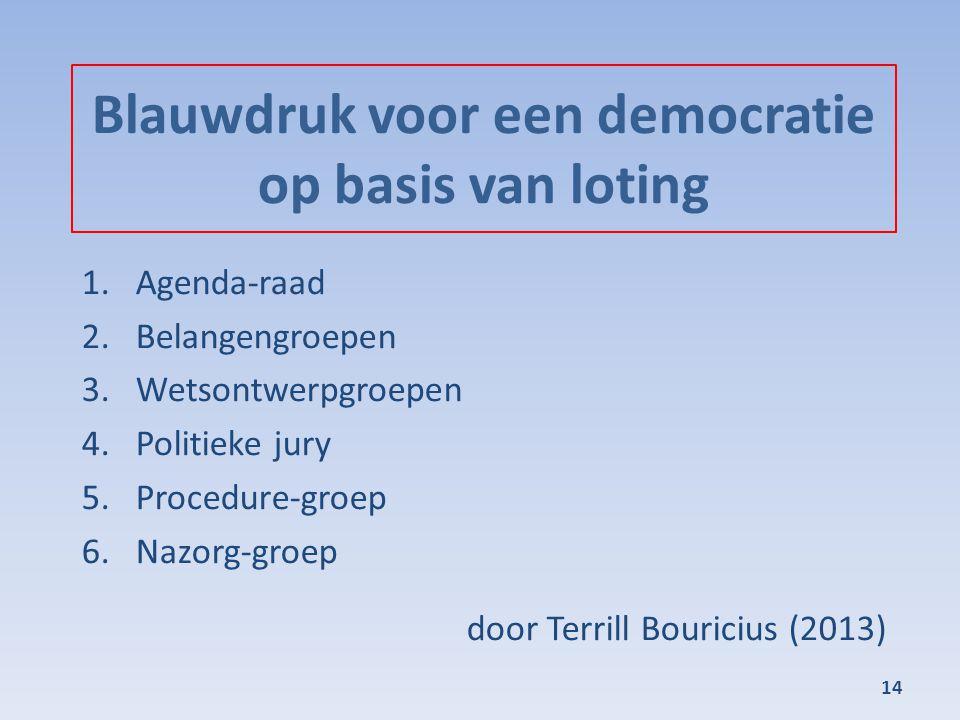 Blauwdruk voor een democratie op basis van loting 1.Agenda-raad 2.Belangengroepen 3.Wetsontwerpgroepen 4.Politieke jury 5.Procedure-groep 6.Nazorg-groep door Terrill Bouricius (2013) 14