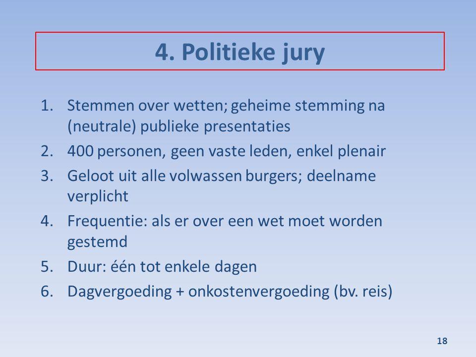 4. Politieke jury 1.Stemmen over wetten; geheime stemming na (neutrale) publieke presentaties 2.400 personen, geen vaste leden, enkel plenair 3.Geloot