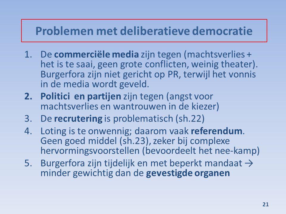 Problemen met deliberatieve democratie 1.De commerciële media zijn tegen (machtsverlies + het is te saai, geen grote conflicten, weinig theater). Burg
