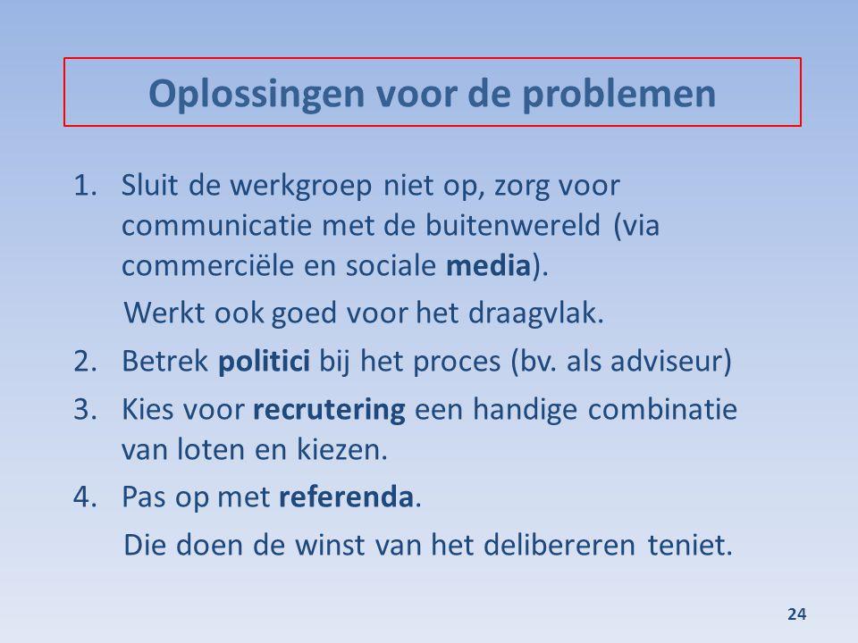 Oplossingen voor de problemen 1.Sluit de werkgroep niet op, zorg voor communicatie met de buitenwereld (via commerciële en sociale media). Werkt ook g
