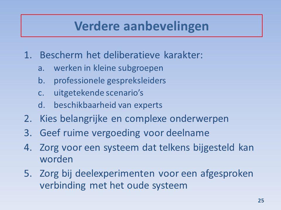 Verdere aanbevelingen 1.Bescherm het deliberatieve karakter: a.werken in kleine subgroepen b.professionele gespreksleiders c.uitgetekende scenario's d