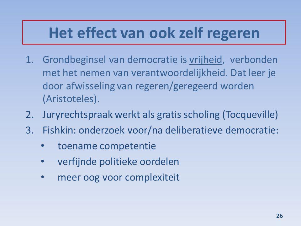 Het effect van ook zelf regeren 1.Grondbeginsel van democratie is vrijheid, verbonden met het nemen van verantwoordelijkheid. Dat leer je door afwisse