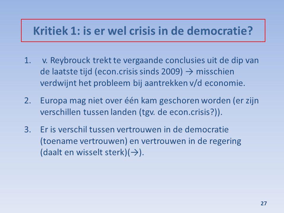 Kritiek 1: is er wel crisis in de democratie? 1. v. Reybrouck trekt te vergaande conclusies uit de dip van de laatste tijd (econ.crisis sinds 2009) →