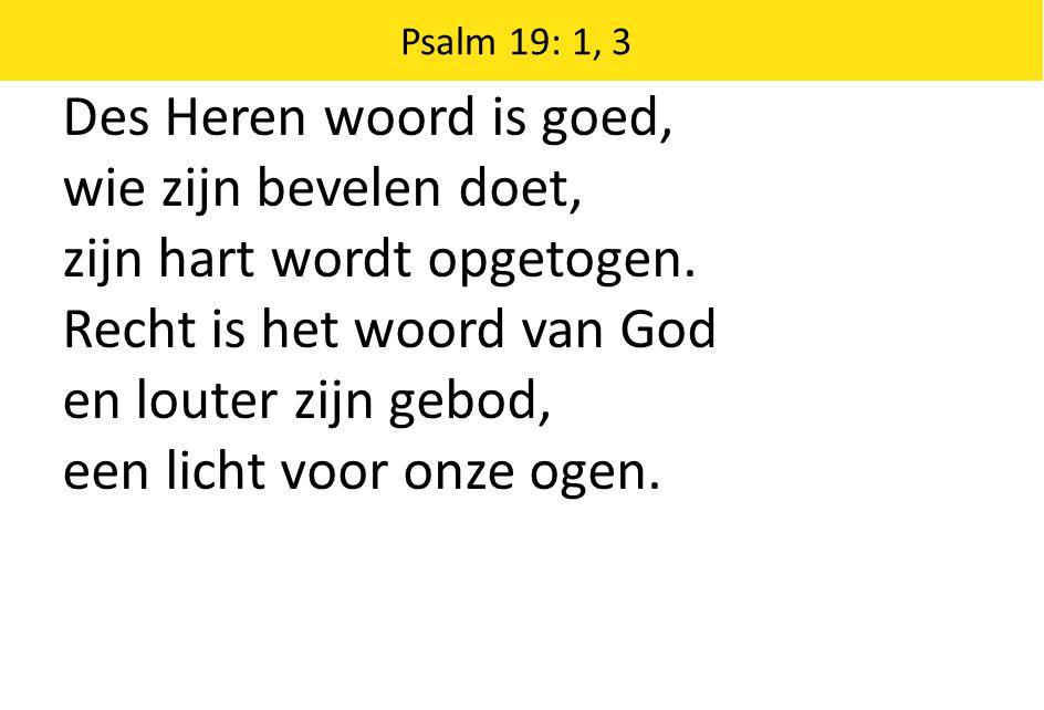 Des Heren woord is goed, wie zijn bevelen doet, zijn hart wordt opgetogen.
