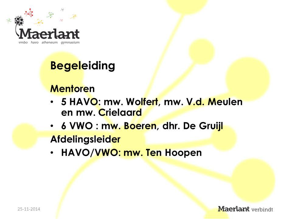 Begeleiding Mentoren 5 HAVO: mw. Wolfert, mw. V.d.