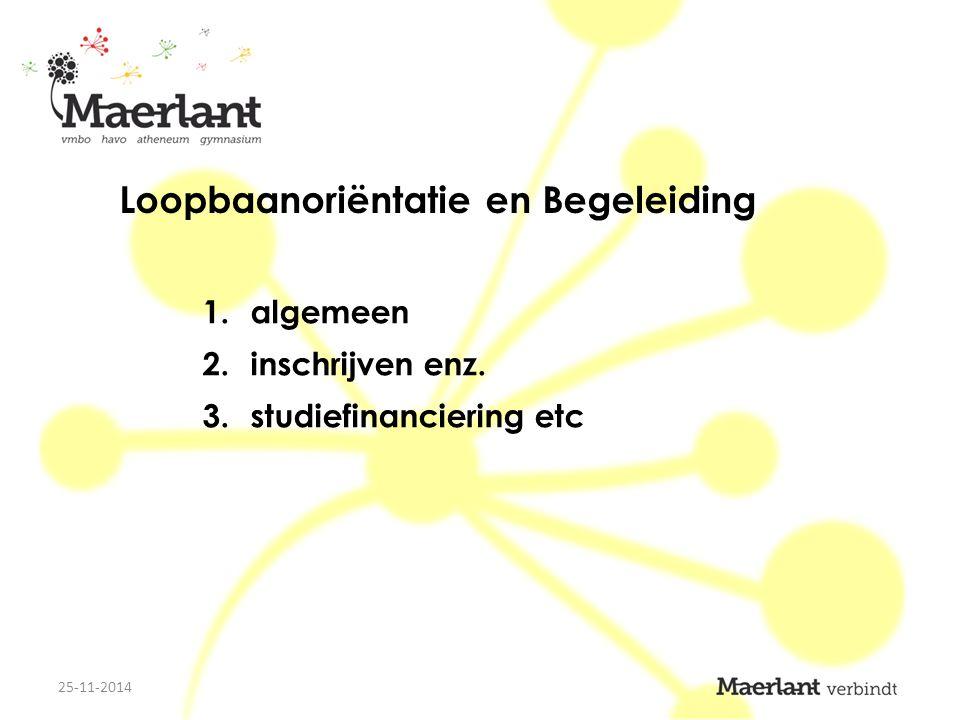 Loopbaanoriëntatie en Begeleiding 1.algemeen 2.inschrijven enz. 3.studiefinanciering etc 25-11-2014