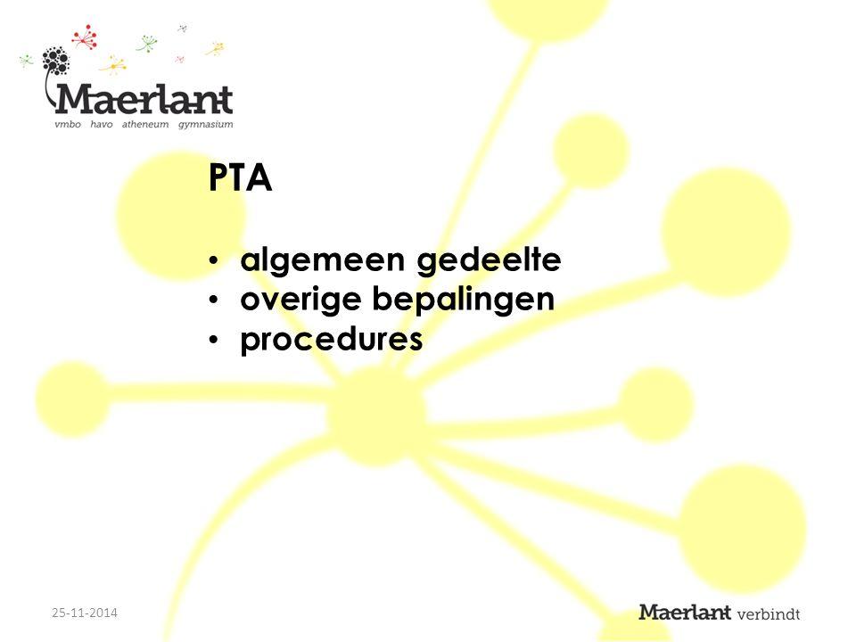 PTA algemeen gedeelte overige bepalingen procedures 25-11-2014