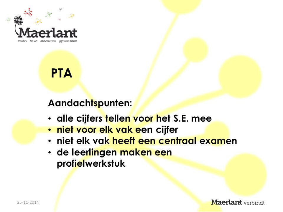 PTA Aandachtspunten: alle cijfers tellen voor het S.E.