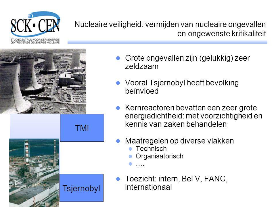 Nucleaire veiligheid: vermijden van nucleaire ongevallen en ongewenste kritikaliteit Grote ongevallen zijn (gelukkig) zeer zeldzaam Vooral Tsjernobyl