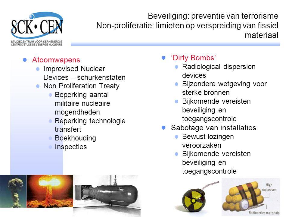 Beveiliging: preventie van terrorisme Non-proliferatie: limieten op verspreiding van fissiel materiaal Atoomwapens Improvised Nuclear Devices – schurk