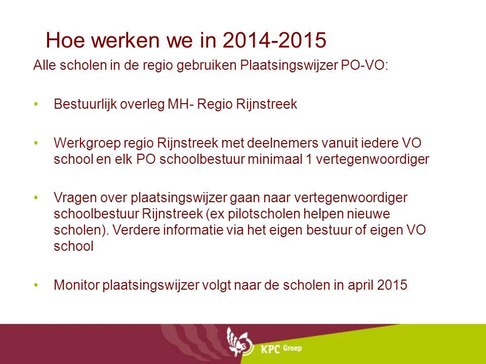 Hoe werken we in 2014-2015 Alle scholen in de regio gebruiken Plaatsingswijzer PO-VO: Bestuurlijk overleg MH- Regio Rijnstreek Werkgroep regio Rijnstr