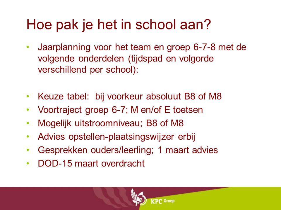 Hoe pak je het in school aan? Jaarplanning voor het team en groep 6-7-8 met de volgende onderdelen (tijdspad en volgorde verschillend per school): Keu