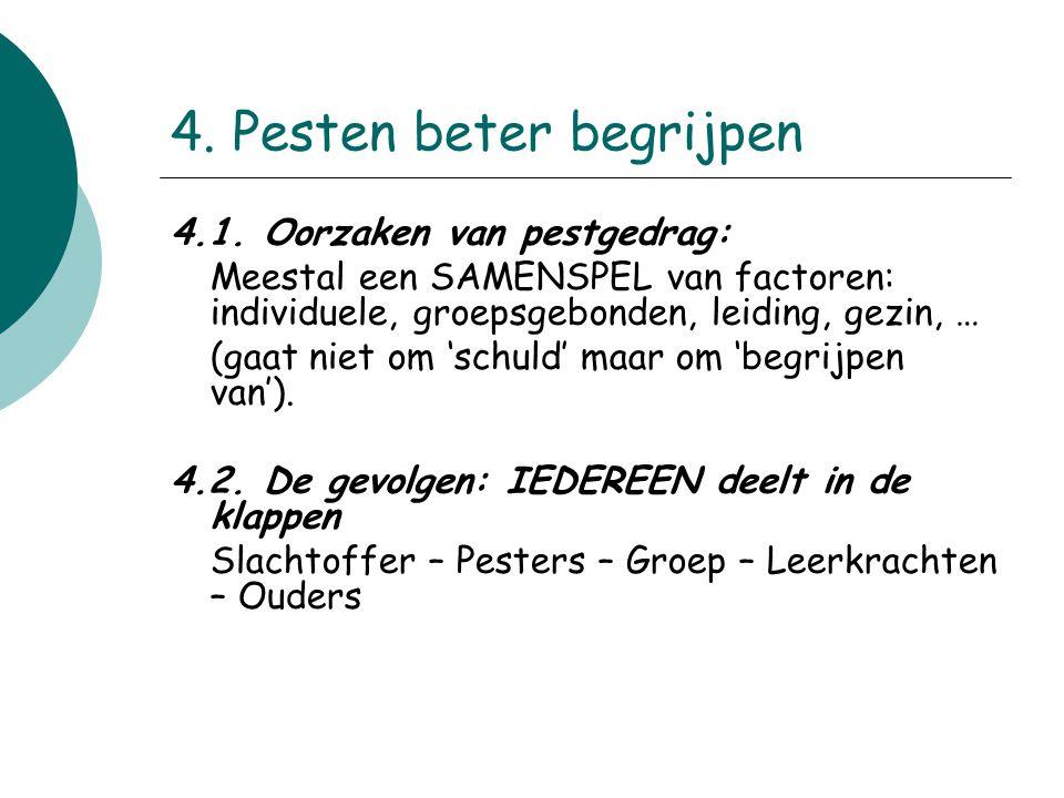 4. Pesten beter begrijpen 4.1. Oorzaken van pestgedrag: Meestal een SAMENSPEL van factoren: individuele, groepsgebonden, leiding, gezin, … (gaat niet