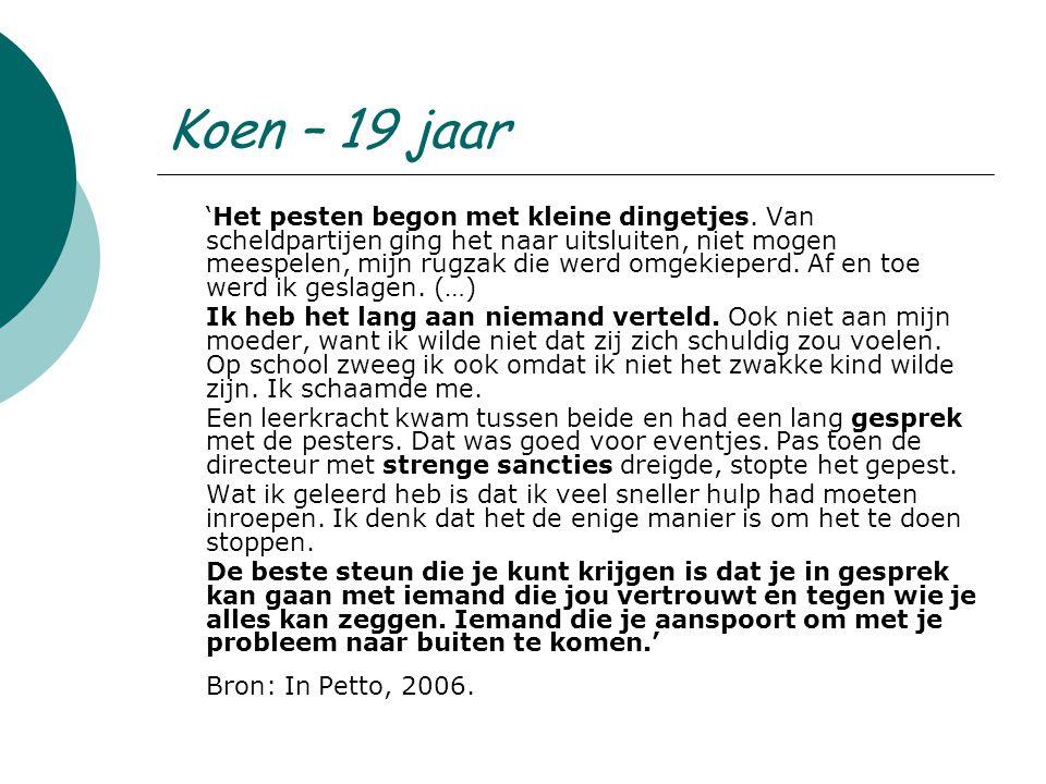 Koen – 19 jaar 'Het pesten begon met kleine dingetjes.